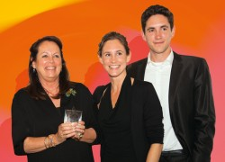 Andrea Prym-Bruck (left) and her two adult children, Catharina Prym and Michael-Dominic Prym